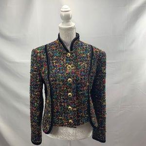 Colorful High Collar Vintage Boucle Blazer Ruffles